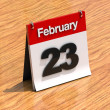 Calendar on desk - February 23rd - Stock Photo