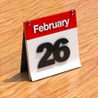 Calendar on desk - February 26th - Stock Photo