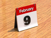 Calendar on desk - February 9th — Stock Photo