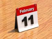 Kalendern på skrivbordet - 11 februari — Stockfoto