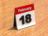 Calendar on desk - February 18th — Stock Photo