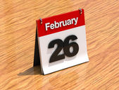 Calendar on desk - February 26th — Stock Photo