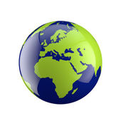 Three dimensional globe with Europe and Africa — Stock Photo