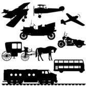 Siluetas de vehículos — Vector de stock