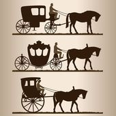 Silhouettes of the carriages — Stock Vector