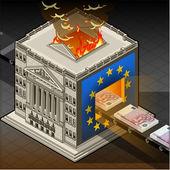 Isometric Stock exchange burning euro — Stock Vector