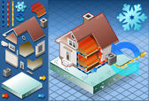 Isometric house with conditioner in heat productio — Vecteur