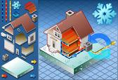 Maison isométrique avec conditionneur en chaleur productio — Vecteur