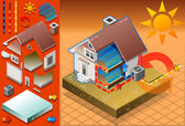Isometric house with conditioner in cold production — Vector de stock
