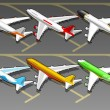 Isometric airplanes in six livery - Vettoriali Stock