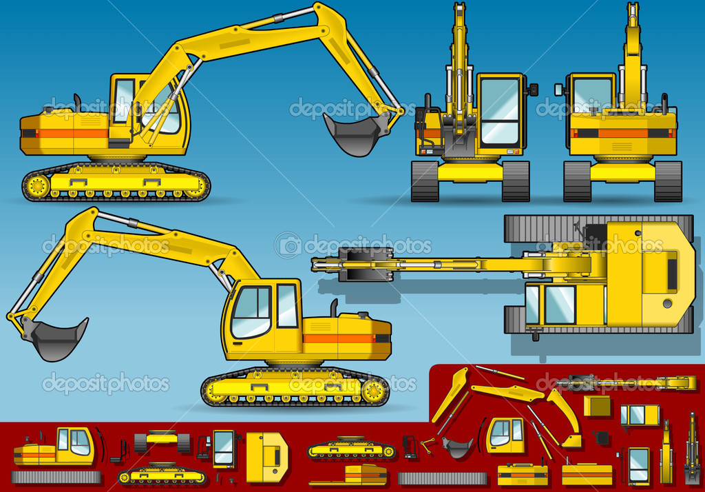 Detailed illustration of a yellow excavator  in five orthogonal position. This illustration is saved in EPS10 with color space in RGB. — Stock Vector #8452943