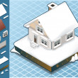 Isometric Snow Capped House — Stock Vector