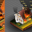 Isometric House on fire — Stock Vector