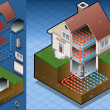 Geothermal heat pump/underfloorheating diagram — Image vectorielle