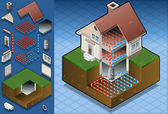 Geothermal heat pump/underfloorheating diagram — Vecteur