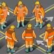 Isometric foreman in eight positions - Stock Vector