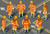 Isometric foreman in eight positions — Stock Vector
