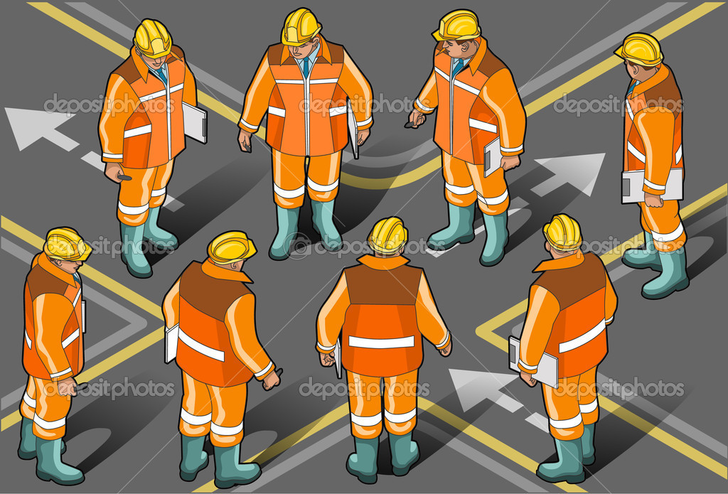 Detailed illustration of a Isometric standing foreman in eight positions This illustration is saved in EPS10 with color space in RGB.This image has transparent forms are under the figures.  Stock Vector #9504440