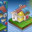 Stock Vector: Isometric house with solar panel