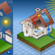 Isometric solar panel in production of hot water - Stock Vector
