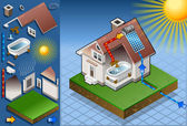 Isometric solar panel in production of hot water — Vector de stock