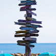 Signpost at Key West pointing to Places around the World — Stock Photo