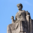 Justitia on Her Throne before a Clear Blue Sky — Foto de Stock