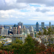 Montreal past the Trees of Parc Mont-Royal — Stock Photo