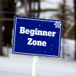 Stock Photo: Blue Beginner Zone Sign on Ski Slopes