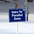 Blue Intro To Parallel Zone Sign on the Ski Slopes — Stock Photo