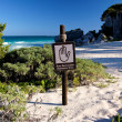 Bilingual Spanish English Sign Restricted Area at Beach Landscape — Stock Photo