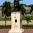 Statue before the Castle of Cartagena — Stock Photo
