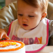 Child Birthday First Touch — Stock Photo