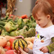 Child Touch Gourd — Stock Photo