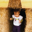 Child Walking Hay — Stock Photo