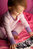 Child Reading Book Pink — Stock Photo