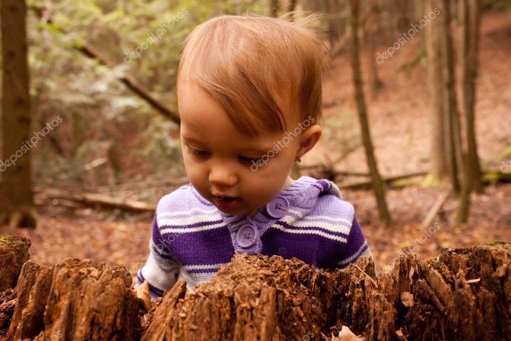 Curious child looking at stump in forest — Stock Photo #8962424