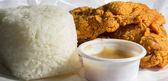 Fried chicken with steamed rice anad gravy — Stock Photo