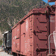 Locomotive and Boxcar at Cimarron Display Editorial - Stock Photo