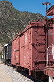 Locomotive and Boxcar at Cimarron Display Editorial — Stock Photo
