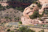 Cyclists on Rimrock Drive Colorado National Monument — Stock Photo