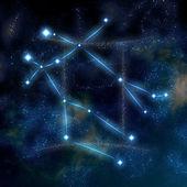 Symbole et la constellation des gémeaux — Photo