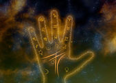 Glowing palm with astrological symbols on space background — Stock Photo