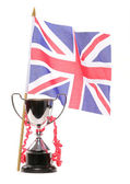 Trophy and union jack — Stock Photo