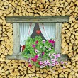 Ledge of a window surrounded by flowers freshly cut wood — Stock Photo