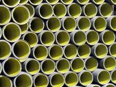 Yellow corrugated tube for the laying of ducts — Stock Photo