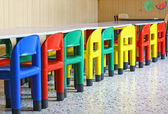 Chairs and tables in a dining hall for a kindergarten — Stock Photo