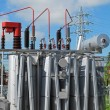 Stock Photo: Electrical transformer to powerhouse with switches, disconnect