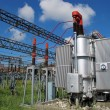 Voltage transformer inside of a powerhouse — Stockfoto