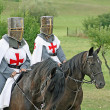 Two medieval crusaders shall strutting — Stock Photo #10560801